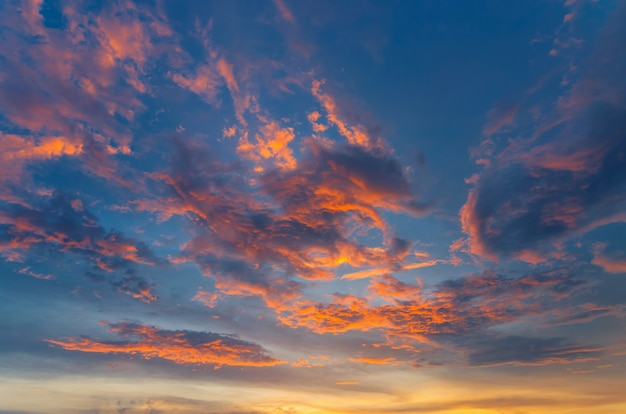 Dramatic sky with red clouds. Premium Photo