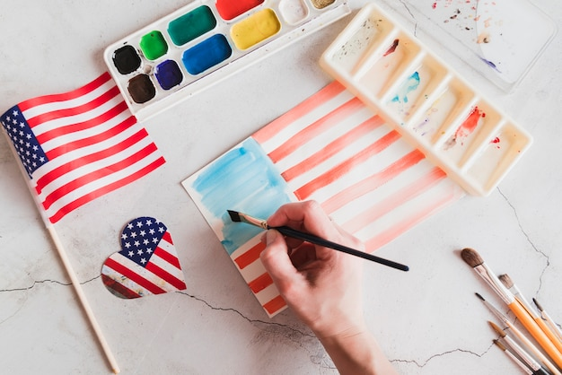 Drawing of american flag by watercolors Free Photo