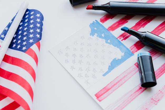 Drawing of american flag Free Photo