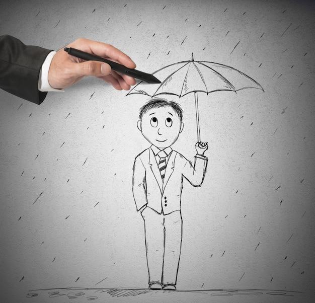 Рисование зонтика, чтобы помочь человеку Premium Фотографии