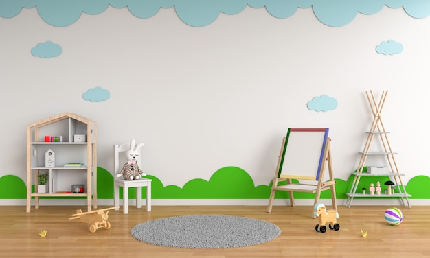 Drawing board and chair in child room interior for mockup Premium Photo