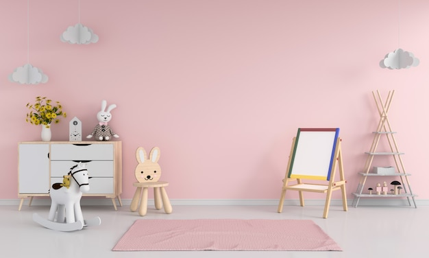 Drawing board and chair in pink child room interior Premium Photo