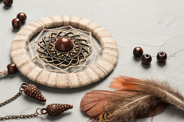 Dream catcher feathers and beads Premium Photo