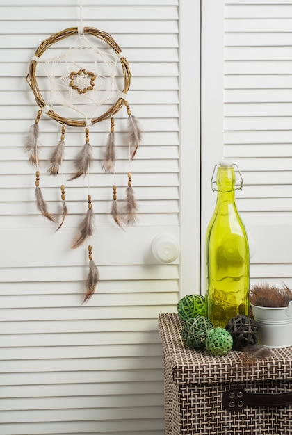 Dream catcher with brown feathers Premium Photo