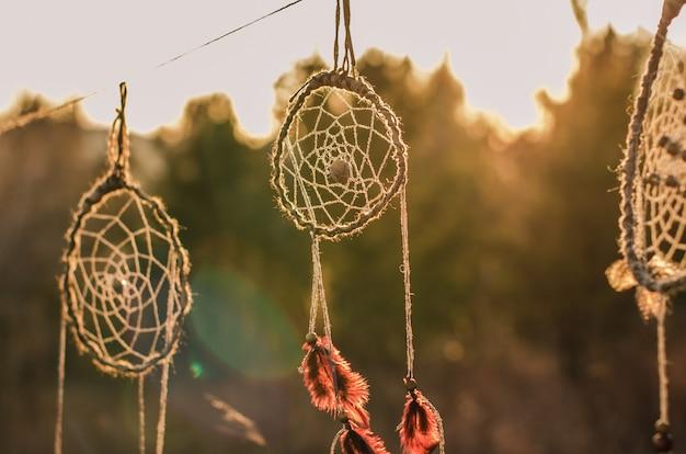 Dreamcatchers, ethnic amulet, symbol of american ethnic indians people. Premium Photo