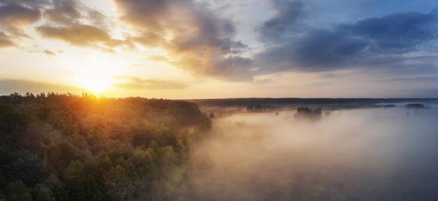 Мечтательное туманное утро в поле с лесом на пасмурном небе. с высоты птичьего полета. Premium Фотографии