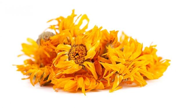 白で隔離されるキンセンカの花を乾燥 Premium写真