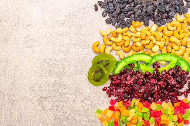 Dried and candied fruit and cashew nuts Premium Photo