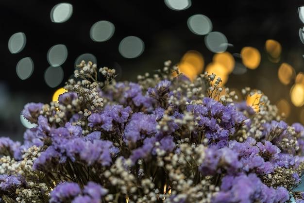 Dried flowers with statice flower in bouquet purple and yellow color dried flowers with statice flower in bouquet purple and yellow color use for decoration premium photo mightylinksfo