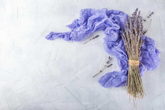Dried lavender flowers on white decoration Premium Photo