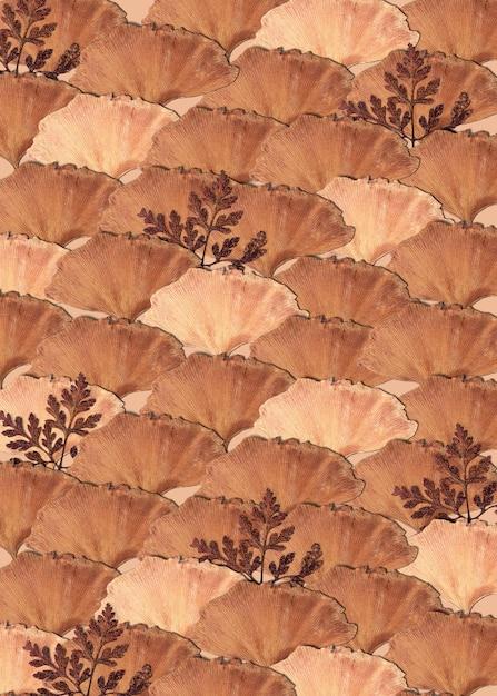 베이지 색 무늬의 말린 잎 무료 사진