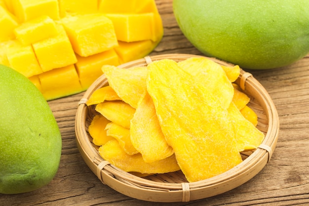 Сушеный фон манго. цукаты из фруктов манго крупным планом. Бесплатные Фотографии