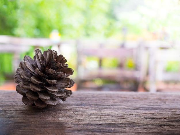 Сушеные сосновые шишки кладут на деревянный стол с размытыми зелеными растениями. Premium Фотографии