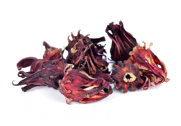 Dried roselle fruits isolated Premium Photo