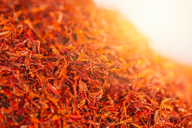 Dried safflower flower herb closeup Premium Photo