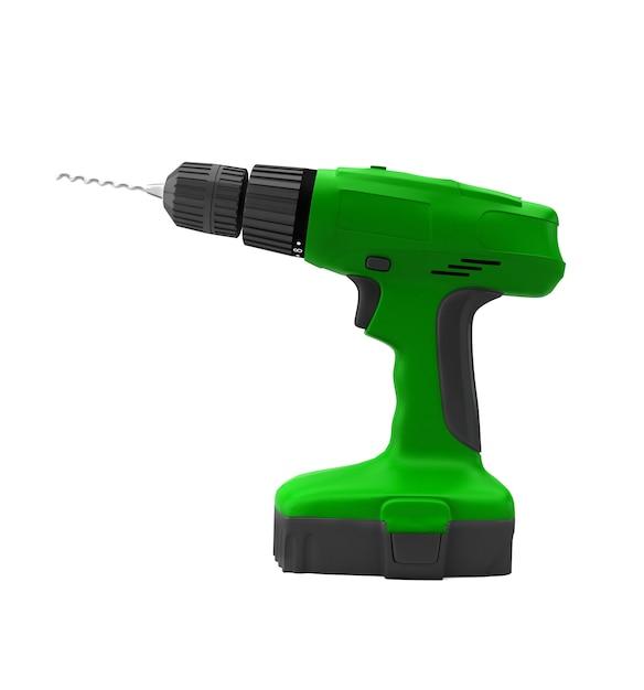 Drill machine isolated on white background Premium Photo