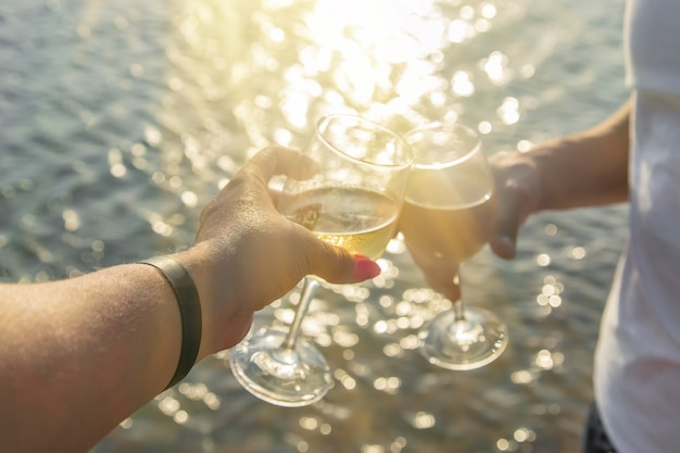 Drink wine by the sea Premium Photo