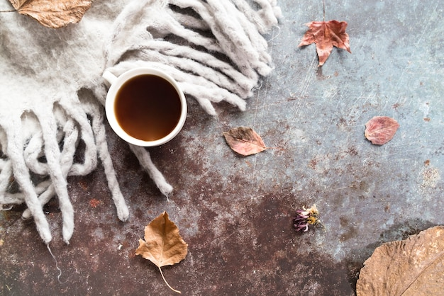 Drink with autumn scarf on shabby surface Free Photo