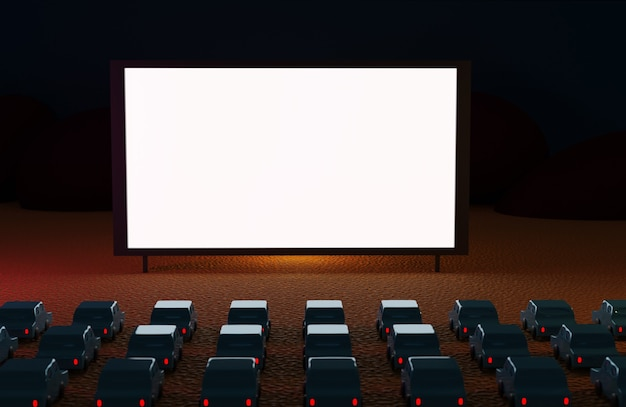 Drive in cinema with cars at night on the beach. Premium Photo