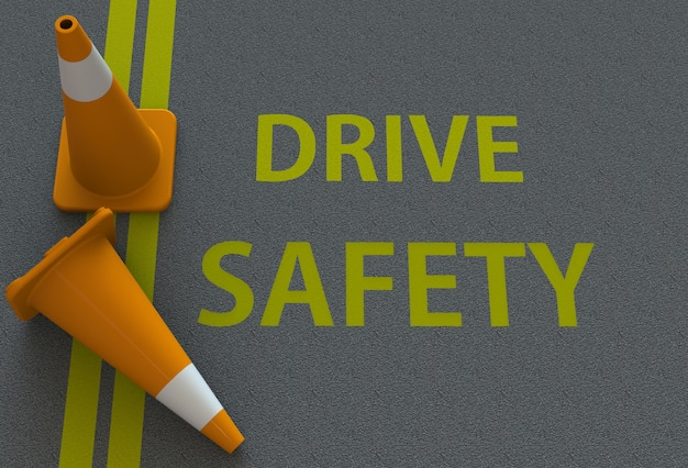 Drive safety, message on the road Premium Photo