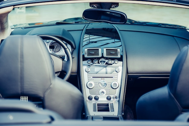 Driver's seat in the car with a modern interior Premium Photo