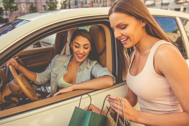 Driver woman is talking with her friend outside Premium Photo