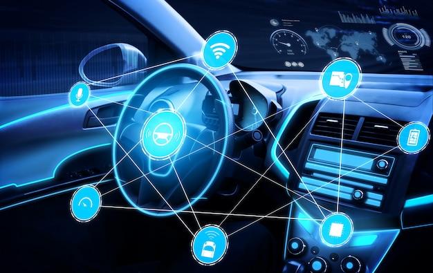自動制御システム用の未来的なダッシュボードを備えた無人の車内 Premium写真