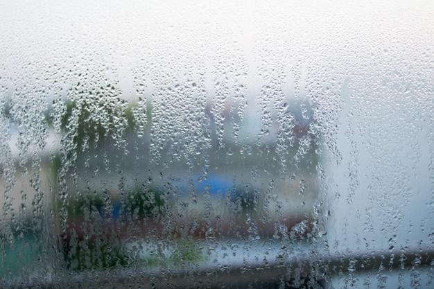 Drop water seamless pattern on the glass Premium Photo