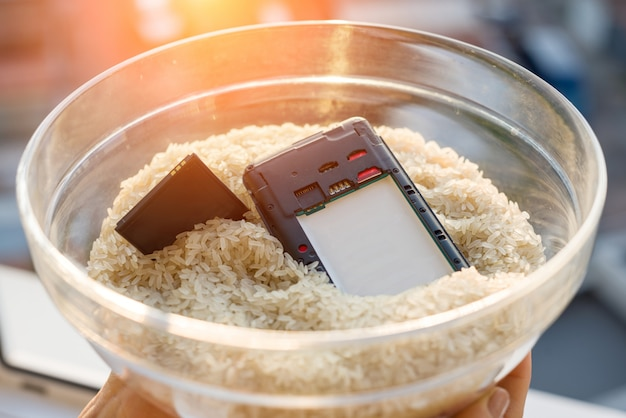 Dropped your phone in water fix is rice Premium Photo