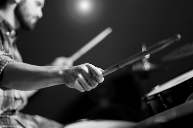 Drummer black and white Free Photo