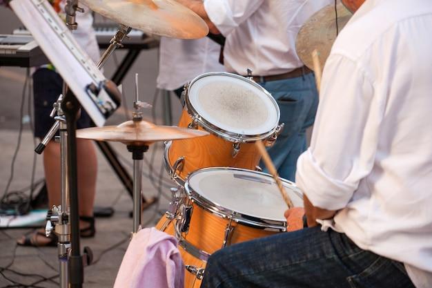 Drummer during the street concert Premium Photo