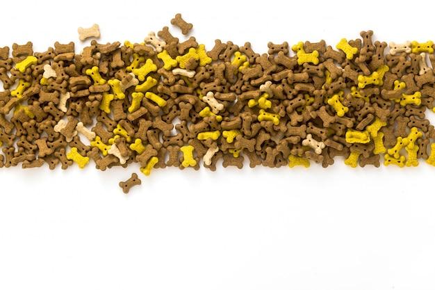 Dry animal pet food isolated on white background Premium Photo