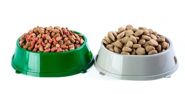 Dry dog food isolated on white Premium Photo