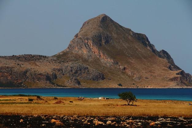 遠くの山と澄んだ空と水の近くの木と乾いた草原 無料写真