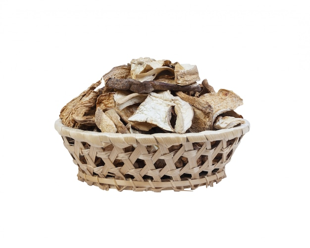 Dry mushrooms isolated Premium Photo