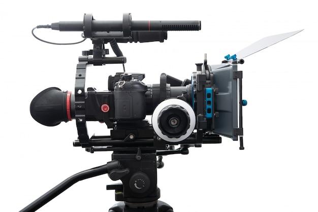 Dslr video camera rig isolated on white Premium Photo