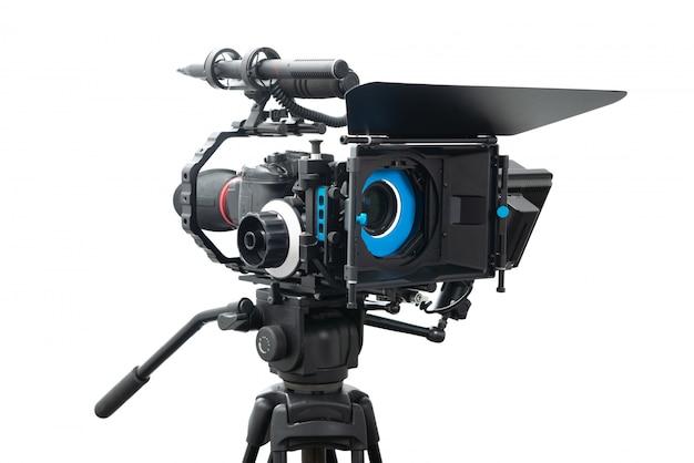 Установка видеокамеры dslr изолированная на белизне Premium Фотографии