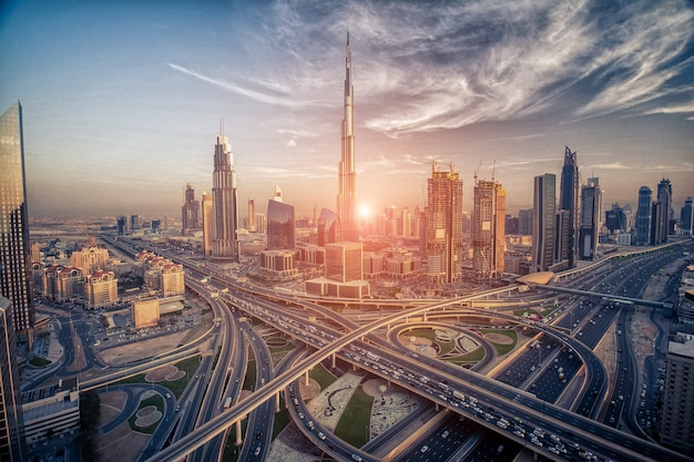 Dubai skyline in the evening about to sunset Premium Photo