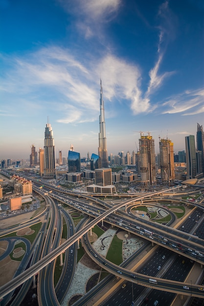 Dubai skyline in the evening Premium Photo