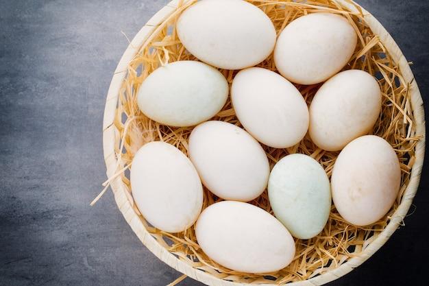 ケージグレーのアヒルの卵。 Premium写真