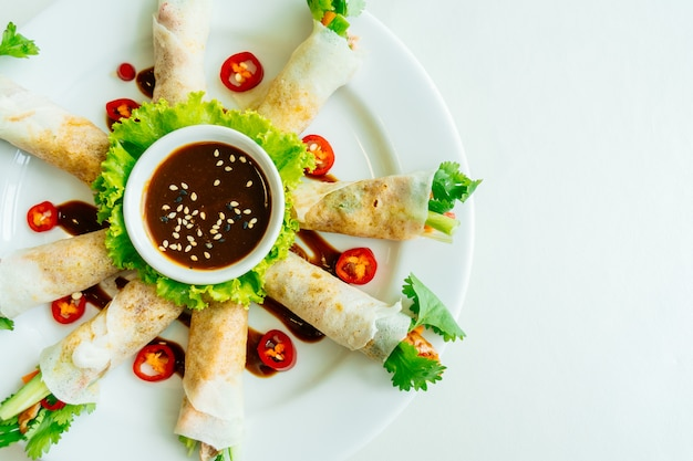 Duck meat inside spring roll Free Photo