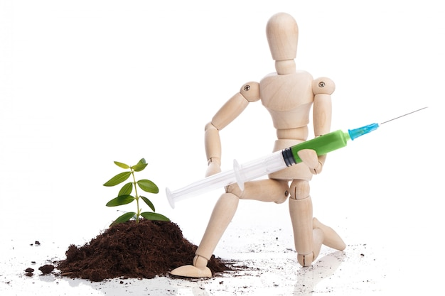 Dummy with syringe and green sprout Premium Photo