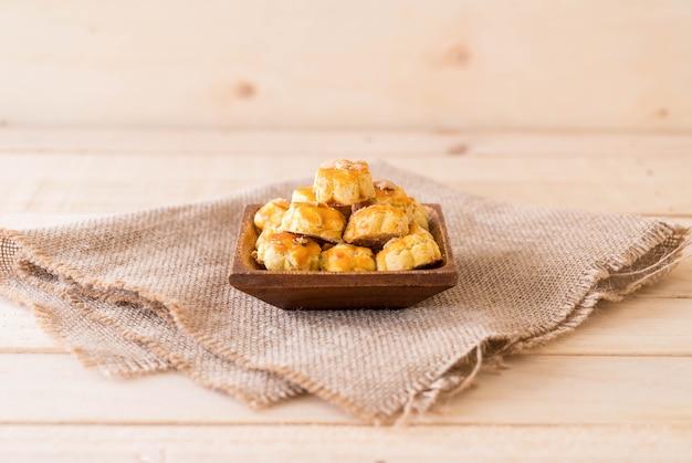 Durian cookies on white plate Premium Photo