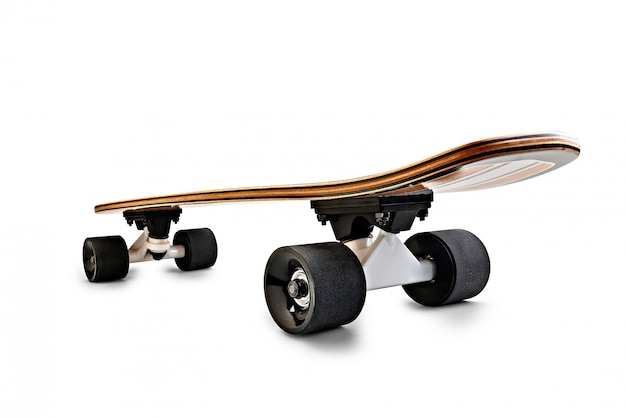 Dynamic rear view of a black and wooden skate board isolated Premium Photo