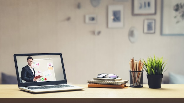 E-learning and online business presentation meeting concept. Premium Photo