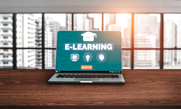 E-learning for student and university background Premium Photo