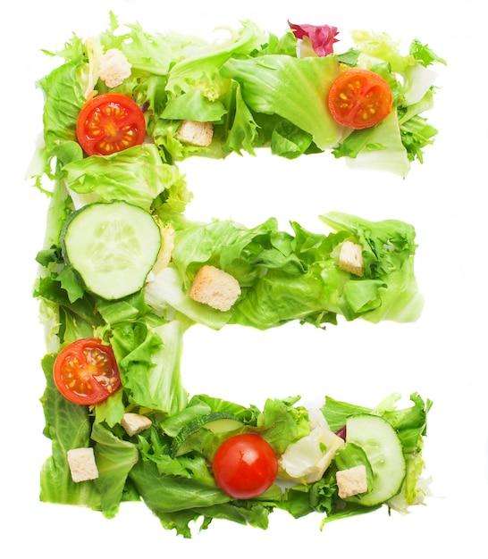 新鮮な野菜で作られたおいしい文字e 無料写真