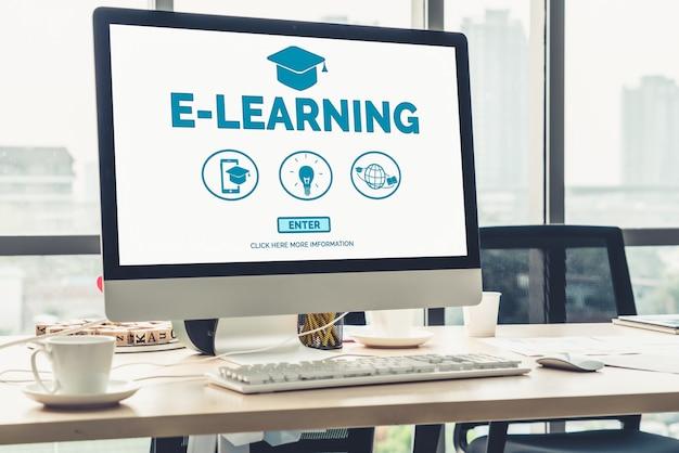 学生と大学の概念のためのeラーニングとオンライン教育。 Premium写真