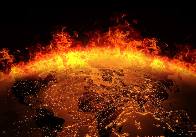 Earth burning with fire Premium Photo