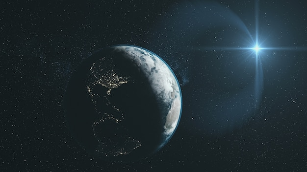 Земля крупный план орбита звездный глубокий космос обзор Premium Фотографии